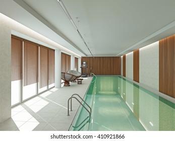 Iinterior swimming pool  3D rendering
