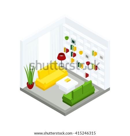 royalty free stock illustration of iisometric room light green sofa rh shutterstock com