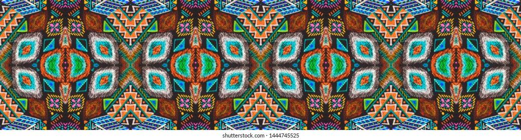 Ikat art. African seamless pattern. Folk motif. Boho texture. Line geometric print. Indian native ornament. Boho endless texture. Black, cyan, pink, green, gold ikat art.