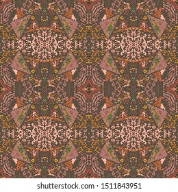 Ikat Art. Cream Never-Ending Bohemian Texture. Brown Design Element. Pine Polynesian Backdrop. Decorative Ornament. Maroon Ikat Art.