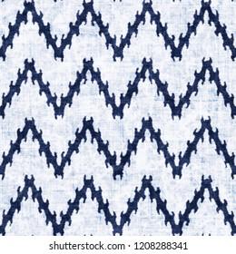Ikat Chevron Bleached Effect Textured Background. Seamless Pattern.