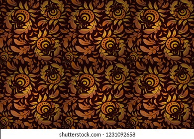 Ikat damask seamless pattern background tile. Raster illustration. In brown, orange and yellow colors.