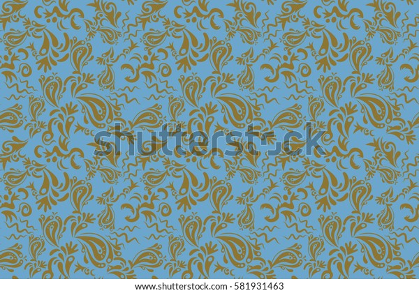 Ikat damask seamless pattern background tile in a neutral and blue colors.