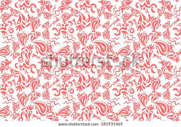 Ikat damask seamless pattern background tile on white background in pink colors.