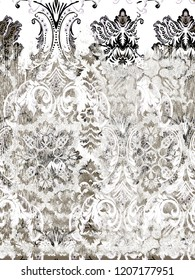 Ikat Ogee and Damascus ornament  Background Pattern. Abstract background for textile design, wallpaper, surface textures.