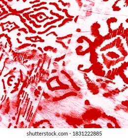 Ikat Pattern. Coral Watercolor. Orange Ikat Triangle. Sari Pattern. Passion Hippie Tie Shirt. Geometric Ikat Endless. Scandinavian Home Style. Red Jacquard Weaves.