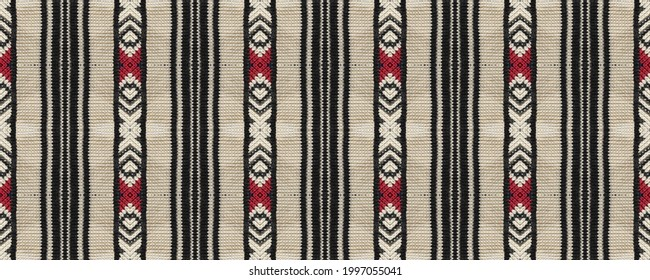 Ikat Seamless Background. Navy blue, Pink and Brown Lines with Charcoal. Aquarelle Indian Textile Decoration. Art Shawl Decor Grunge Style. Colorful Tribal ikat.