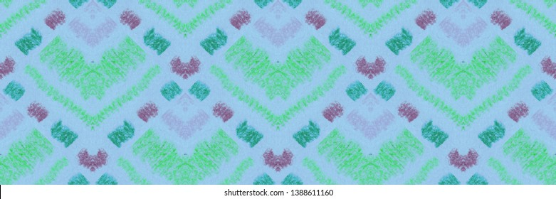Ikat seamless blue ethnic and geometric pattern for fabric. Textile ornament in Aztec style. Indian tribal embroidery. Scandinavian, Mexican, Navayo, Tibetan, Buthanese, Nepalese folk pattern