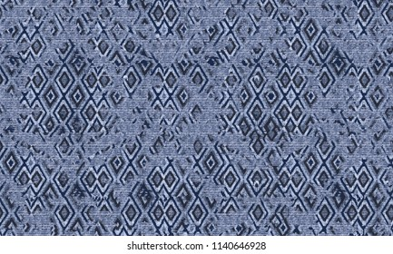 Ikat seamless pattern.  tie dye print with stripes and chevron. Ink textured japanese background. Ethnic fabric  Bohemian fashion. Endless watercolor texture. African rug.
