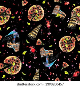 Ilaly pattern with pizza, vine, Coliseum and etc. Colorful illustration on black background. Postcard, wallpaper, fabric, poster design.