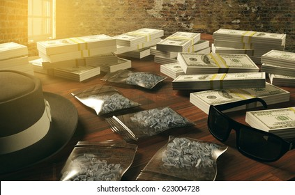 Illegal business drugs and dollars, Mafia drug dealer, 3D rendering