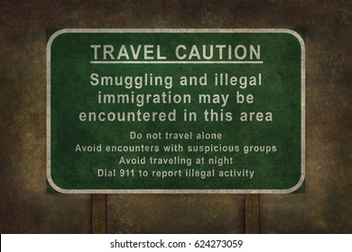 Illegal immigration travel warning sign for USA and Canadian borders