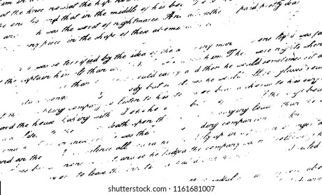 Illegible handwriting template. Black white pattern. Vintage letter abstract background. Blurred texture. Text defocused illustration.