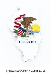 Illinois flag on 3d map