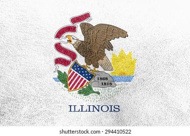 Illinois Flag painted on leather texture,vintage style