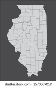 The Illinois State counties map isolated on dark background