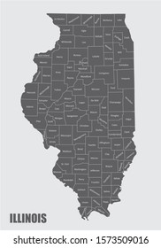 The Illinois State map with counties labels