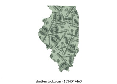 Illinois State Map and United States Money, Hundred Dollar Bills