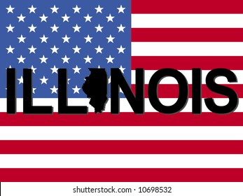 Illinois text with map on American flag illustration JPG