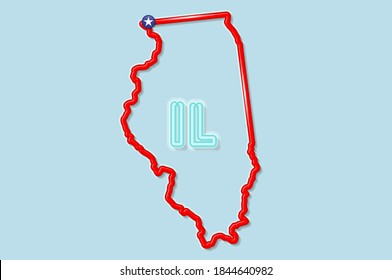 Illinois US state bold outline map. Glossy red border with soft shadow. Two letter state abbreviation. illustration.