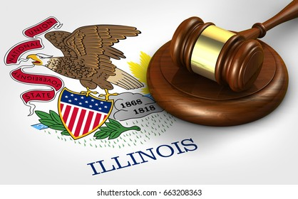 Illinois US state law, legal system and justice concept with a 3D rendering of a gavel on Illinoisan flag.