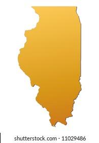Illinois (USA) map filled with orange gradient. Mercator projection. Original rendered image using public domain data(coordinates).