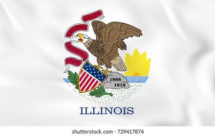 Illinois waving flag. Illinois state flag background texture. Raster copy.