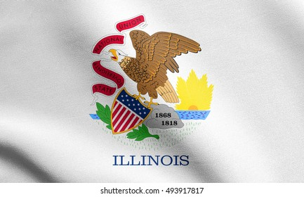 Illinoisan official flag, symbol. American patriotic element. USA banner. United States of America background. Flag of the US state of Illinois waving in the wind with detailed fabric texture
