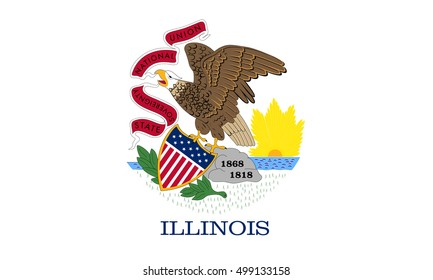 Illinoisan official flag, symbol. American patriotic element. USA banner. United States of America background. Flag of the US state of Illinois in correct size and colors, illustration