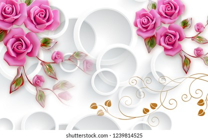 Illistration of pink rose flowers with leaves on 3D decorative wallpaper