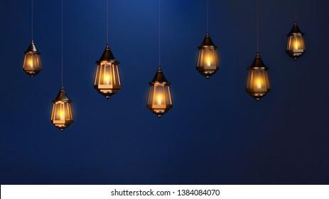 Illuminated arabic lantern. Islamic greeting Eid Mubarak background for Muslim Holidays. Ramadan Kareem background. 3D Illustration
