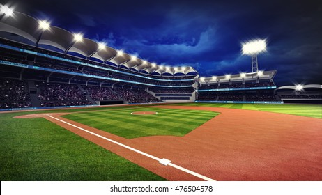 illuminated baseball stadium with spectators and green grass, sport theme 3D illustration