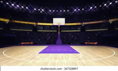 illuminated basketball basket with spectators and spotlights, sport topic arena interior illustration