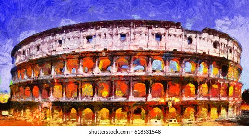 Illuminated coliseum in Rome at night oil painting
