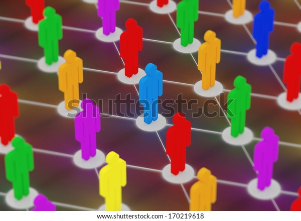 Illuminated Colorful People Network. Social Network Concept