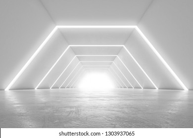 Illuminated corridor interior design. Abstract Futuristic tunnel with light background. 3D rendering.