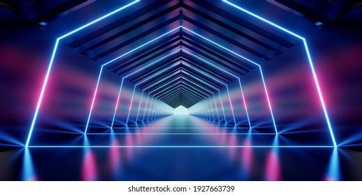 Illuminated corridor interior design. Abstract interior sci-fi spaceship corridors. futuristic design spaceship interior in blue background. 3d rendering.
