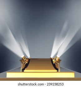 Illuminated empty golden stage podium for award ceremony. High resolution.