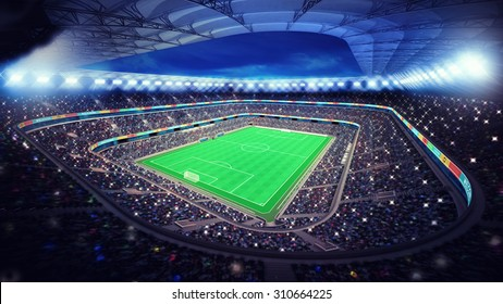 illuminated football stadium with fans in the stands sport match background digital illustration my own design
