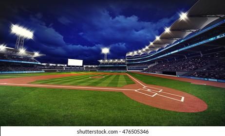 illuminated modern baseball stadium with spectators and green grass, sport theme 3D illustration