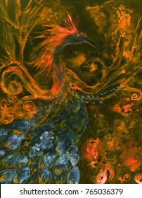 Illuminated Phoenix in the night. The dabbing technique near the edges gives a soft focus effect due to the altered surface roughness of the paper.