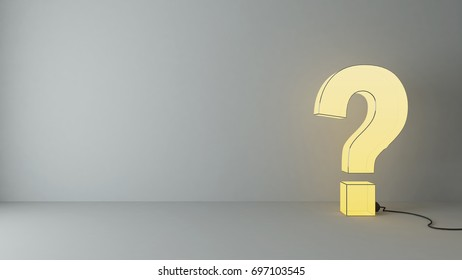 illuminated questions marks 3d render in the empty room with wall and under spot light 3D rendering