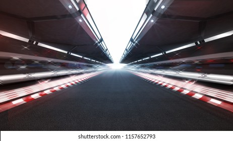 illuminated race track with shiny lights and motion blur, racing sport background rendering 3D illustration