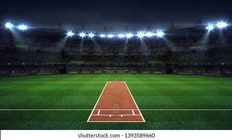 Illuminated round cricket stadium full of fans at night upper front view, modern public sport building background 3D render series