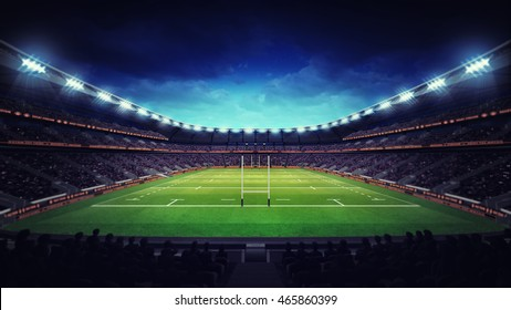 illuminated rugby stadium with spectators and green grass, sport theme three dimensional 3D illustration