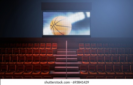 An illuminated stadium big screen showing a basketball replay in the stands in the night time - 3D render