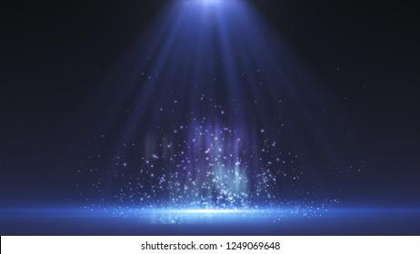 illuminated stage. Blue light rays focused on center of floor. 3d rendering