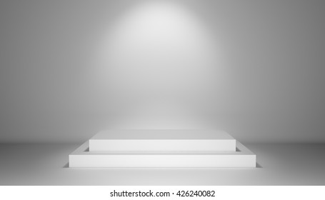 Illuminated stage with scenic light and podium in center, 3D illustration