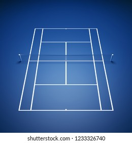 Illuminated tennis court seen from above, Tennis tournament, 3d illustration