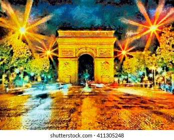 Illuminated Triumphal Arch at Paris night oil painting